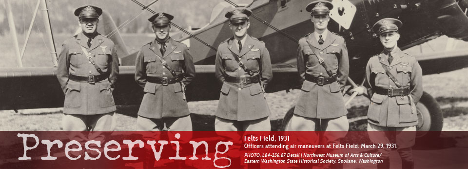 Felts Field 1931, Officers attending air maneuvers at Felts Field. March 29, 1931.