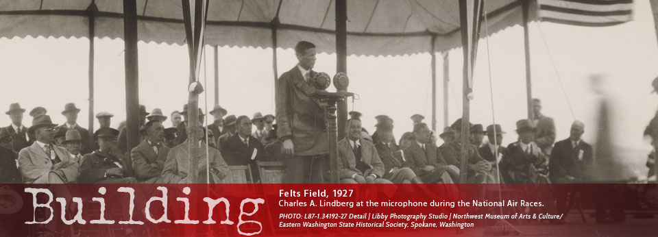 Felts Field 1927, Charles A. Lindberg at the microphone during the National Air Races